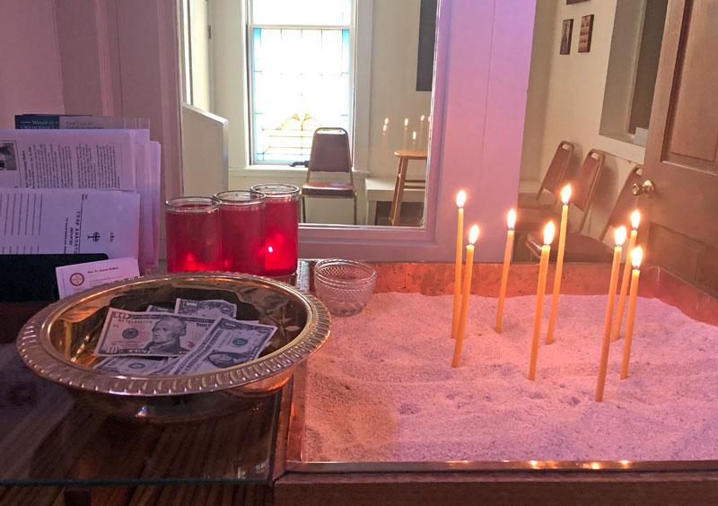 Candles and tray at the pangari